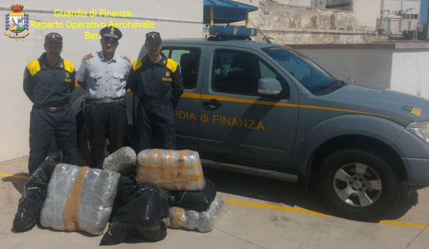 Sequestrati 80 chili di marijuana nel canale d'Otranto, arrestati 2 albanesi